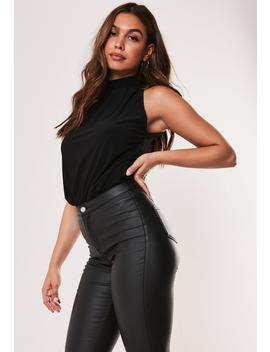 Black High Neck Slinky Gathered Bodysuit by Missguided