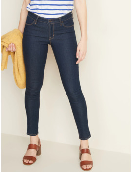 Mid Rise Dark Wash Super Skinny Jeans For Women by Old Navy