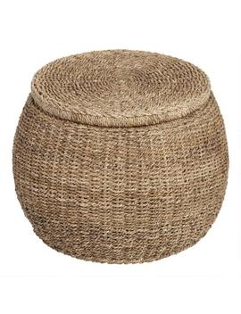 Round Rattan And Seagrass Eric Storage Ottoman by World Market