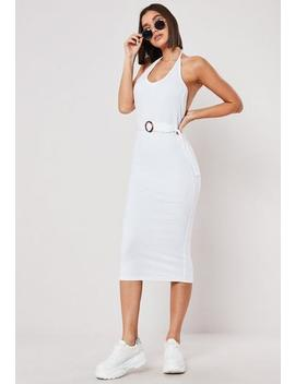 White Ribbed Belted Halterneck Bodycon Midi Dress by Missguided