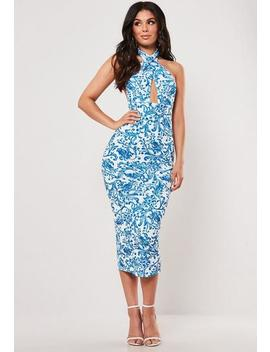 Blue Porcelain Print Cross Front Halterneck Midi Dress by Missguided