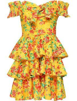 Hellena Off The Shoulder Floral Print Crochet Knit Mini Dress by Caroline Constas