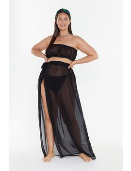 Ms Sheer Bandeau &Amp;Amp; Tie Side Skirt Co Ord by Nasty Gal