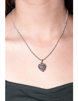 Silver Hollow Heart Necklace by Brandy Melville
