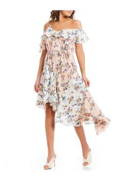 Floral Print Off The Shoulder Asymmetric Hem Midi Dress by Skies Are Blue