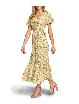Short Sleeve Floral Print Wrap Front Maxi Dress by Ce Ce