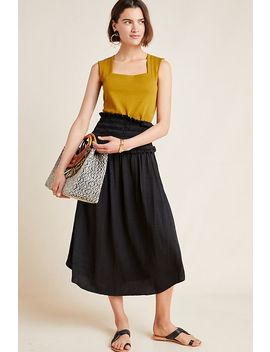 Moxie Smocked Midi Skirt by Current Air