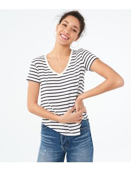 Seriously Soft Striped V Neck Tee by Aeropostale