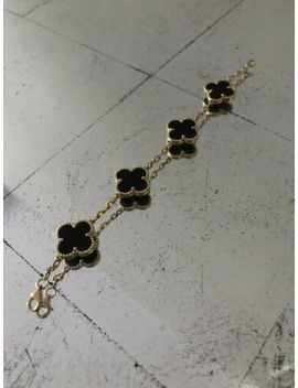 Estate 18 K Gold Flower Clover Motif Black Onyx Bracelet Alhambra Van Cleef by Estate