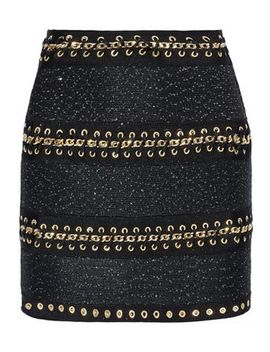 Chain Trimmed Sequin Embellished Stretch Knit Mini Skirt by Balmain