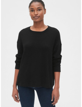 Slouchy Waffle Knit Crewneck Sweater by Gap
