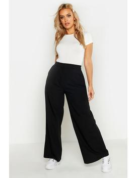 Plus Tailored High Waisted Wide Leg Trousers by Boohoo