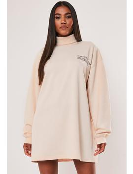 Sand Oversized Mg Slogan Roll Neck Sweatshirt Dress by Missguided