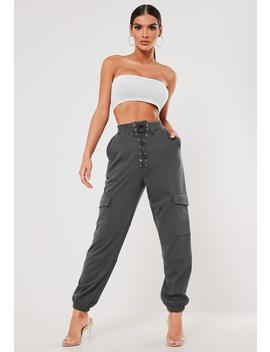 Sxf X Missguided Grey Lace Up Pocket Joggers by Missguided