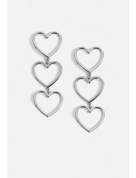 Silver Look Triple Heart Drop Earrings by Missguided