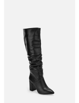 Black Faux Leather Ruched Knee High Boots by Missguided