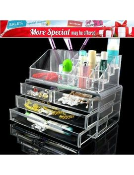 4 Drawer Makeup Holder Cosmetic Organizer Storage Jewellery Clear Acrylic Box by Unbranded
