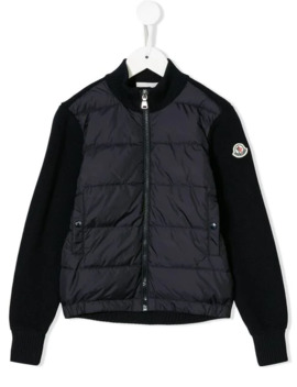 Zipped Bomber Jacket by Moncler Kids