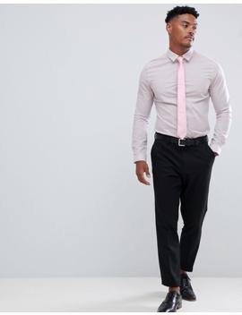 Asos Design Skinny Smart Striped Work Shirt In Pink by Asos Design