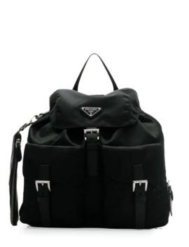 Buckled Nylon Backpack by Prada