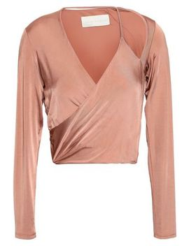 Cropped Cutout Satin Jersey Wrap Top by Michelle Mason