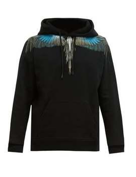 Wings Print Cotton Hooded Sweatshirt by Marcelo Burlon