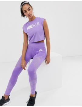 Nike Air Running Leggings With Mesh Panels In Purple by Nike