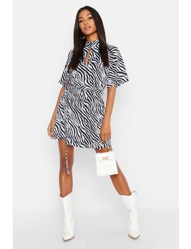 Zebra Print High Neck Skater Dress by Boohoo