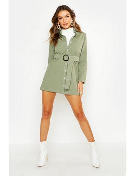 Utility Buckle Belted Shirt Dress by Boohoo