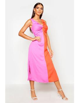 Satin Contrast Twist Front Dress by Boohoo