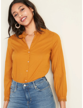 Lace Trim Split Neck Shirt For Women by Old Navy