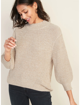 Textured Mock Neck Blouson Sleeve Sweater For Women by Old Navy