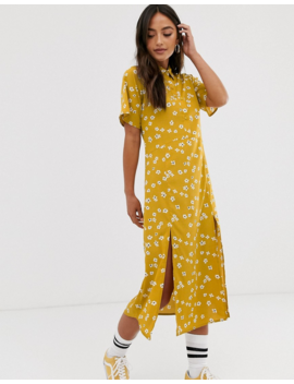 Wednesday's Girl Midi Dress With Splits In Daisy Floral Print by Wednesday's Girl