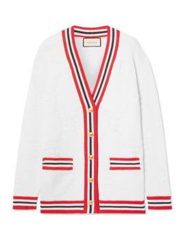Striped Wool Blend Jacquard Knit Cardigan by Gucci