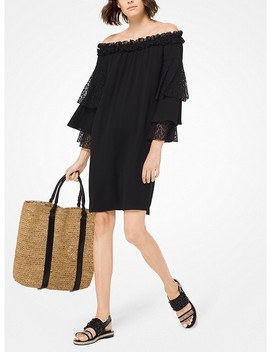 Silk Georgette And Lace Off The Shoulder Dress by Michael Kors Collection