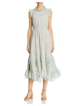 Ikat Leaf Print Dress by Rebecca Taylor