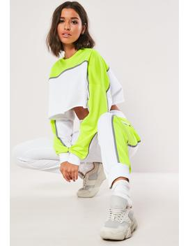 Lime Colorblock Reflective Co Ord Joggers by Missguided