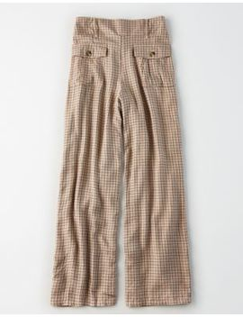 Ae High Waisted Plaid Wide Leg Pant by American Eagle Outfitters