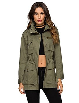 Escalier Women's Anorak Jacket Lightweight Drawstring Hooded Military Parka Coat by Escalier