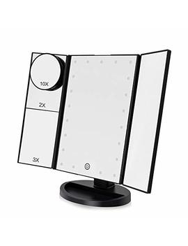 Funtouch Makeup Vanity Mirror With 21 Led Lights, 10 X/3 X/2 X/1 X Magnifying Led Makeup Mirror With Touch Screen,Dual Power Supply,180° Adjustable Rotation,Countertop Cosmetic Mirror(Black) by Funtouch