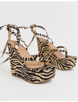 Asos Design Tribute Thong Tie Leg Wedges In Tiger by Asos Design