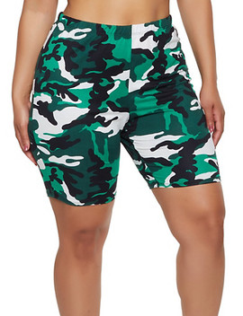 Plus Size Camo Bike Shorts | 0960074017600 by Rainbow