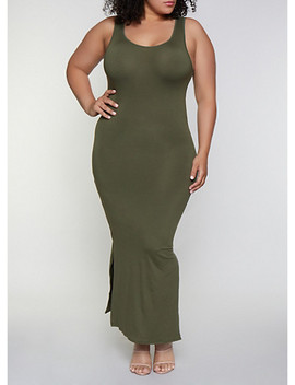 Plus Size Solid Side Slit Maxi Tank Dress by Rainbow