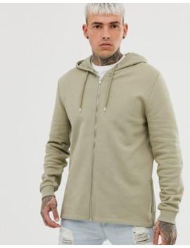 Asos Design Zip Up Hoodie With Side Zips In Khaki by Asos Design