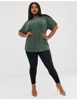 Asos Design Curve T Shirt In Plisse In Khaki by Asos Design