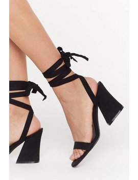 The Lace Is On Faux Suede Flare Heel Sandals by Nasty Gal