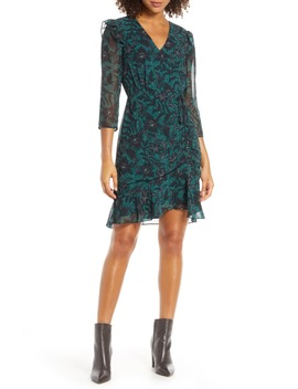 Floral Ruched Chiffon Dress by Sam Edelman