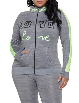 Plus Size Love Color Block Active Zip Top by Rainbow