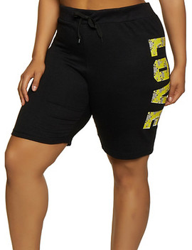 Plus Size Love Side Graphic Sweat Shorts by Rainbow