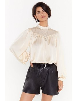 High Neck Drapey Satin Blouse by Nasty Gal